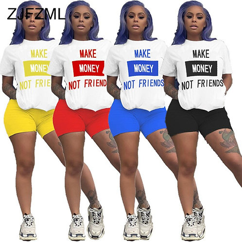 Women Fitness Two Piece Set Casual Tracksuit Letter Print Short Sleeve T Shirts