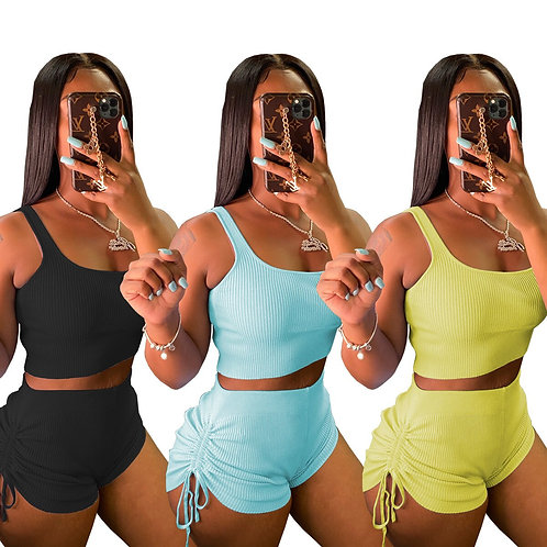 Neon Yellow Knitted Suits 2 Pieces Sets Women's Outfit Low Neck Cropped Tank Top