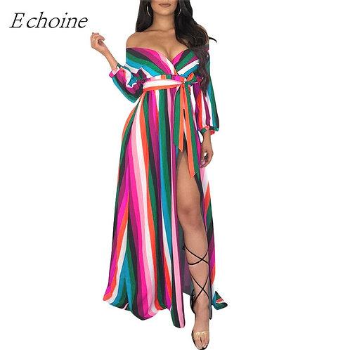 Echoine Colorful Stripe Women Maxi Dress Plus Size S-3xl Wrap v Neck Long Sleeve