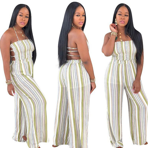 Echoine Striped Print Strap Backless Jumpsuit Sexy Bandage Club Outfits