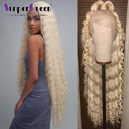 Curly Human Hair Wig Brazilian Deep Wave 613 Blonde Lace Front Human Hair Wigs