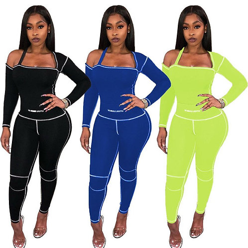 Wholesale Dropshpping Women Two-Piece Sets New Design Solid Color Tight-Fitting
