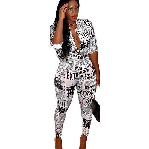 2019 Winter New Two Piece Outfit Women Set Newspaper Letter Print Blouses Shirts