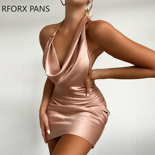 Women Solid Sleeveless Cowl Neck Satin Ruched Party Dress Mini Dress  Bodycon