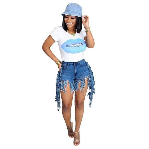 Echoine Women Summer Fringe Tassel Denim Shorts Club Outfit Jeans Hight Waist