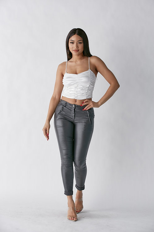 Veneto Charcoal FAUX Pants