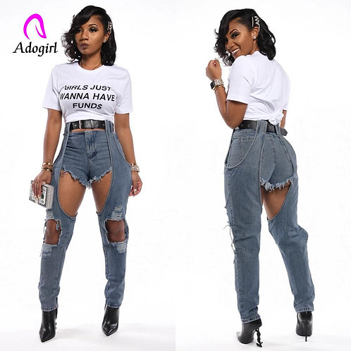 Distressed Denim Jeans Blue Sexy Womens With Holes 2020 New Spring Streetwear