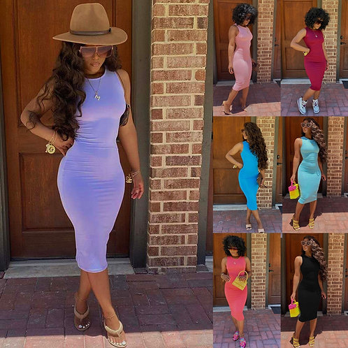 Echoine Sleeveless Midi Dress Summer Skinny Bodycon Vintage Dresses Elegant Soli
