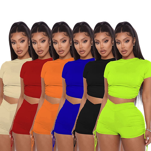 Women Summer Solid Open Back Crop Top Stacked Shorts Jogger Pnats Suit Two Piece