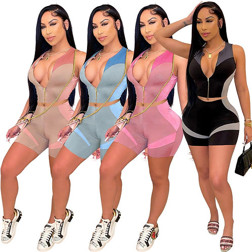 Two Piece Sets for Women Skinny Fashion Printing Women Tracksuit Zip Sleeveless