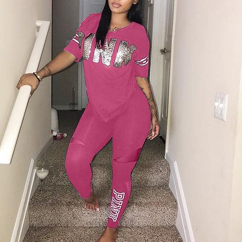 Casual 2 Piece Sets Women's Suit Tracksuits Set Pink Letter Print Plus Size Swe