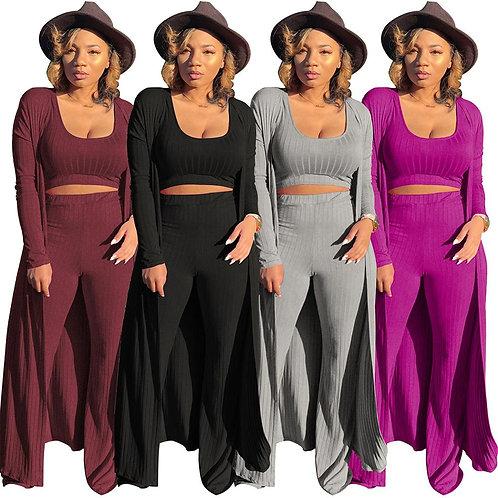 Echoine Women Sexy 3 Pieces Set Cardigans Tracksuit Women Ribbed Knit Crop Top a
