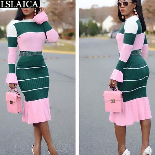 Fashion 2 Peice Set Women 2020 Autumn Patchwork Long Sleeve O Neck Sweater Midi