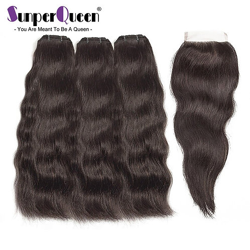 Raw Indian Virgin Hair Bundles With Closure Body Wave Hair Weave Bundles With