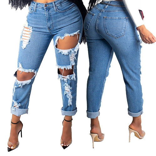 Tattered Design Destroyed Jeans for Women Ripped Distressed Jeans Juniors Hole