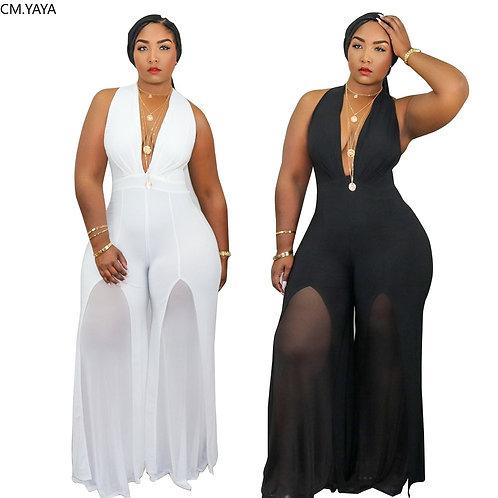CM.YAYA Women Plus Size XL-5XL Halter Deep V-Neck Sleeveless Straight Jumpsuit