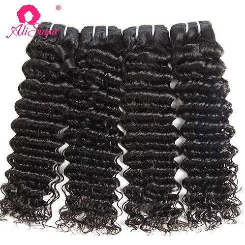 Ali Sugar Virgin Hair Weave Brazilian Deep Wave 4 Bundle Deals Middle Ratio Natu