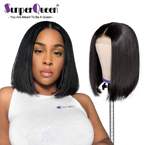 4x4 Lace Closure Wig Short Bob Straight Human Hair Wigs 150 Density Brazilian