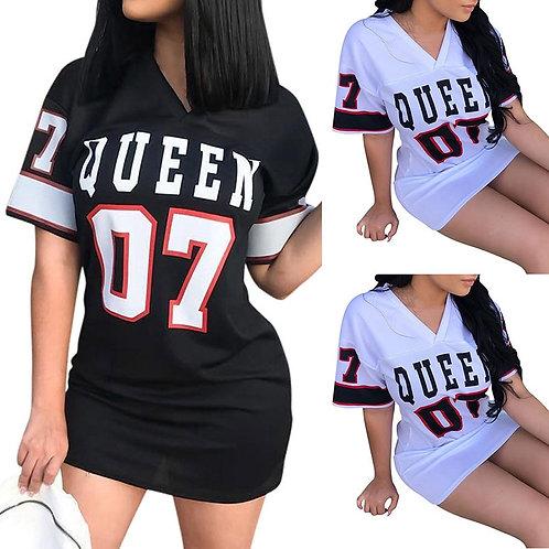 T Shirt Dress Women Short Dress Hip Hop Queen Printed Long T Shirt Loose v Neck