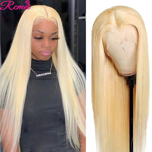 30'' Middle Part Glueless 613 Honey Blonde Part Lace Wig Brazilian Straight Lace