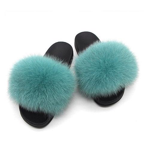 Women Fur Slippers Women Real Raccoon Fur Slippers Casual Summer Slides Fox Fur