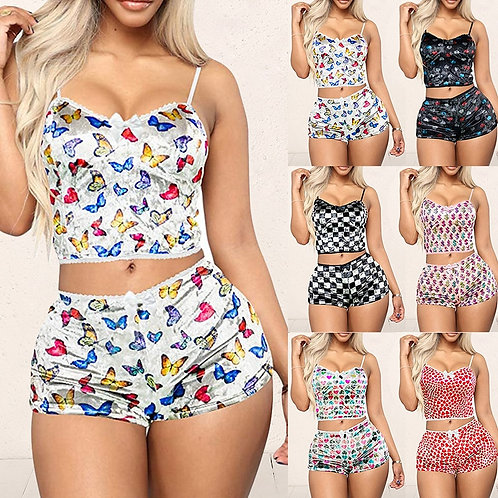 2 Pieces Pyjamas Women Butterfly Printed Soft Sexy Nightwear Suit Lace Lingerie