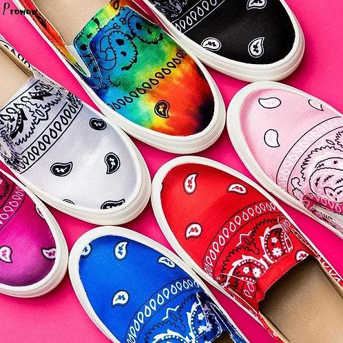 Women Canvas Loafer Flat Platform Snakeskin Colorf Ladies Slip on Shoes Female