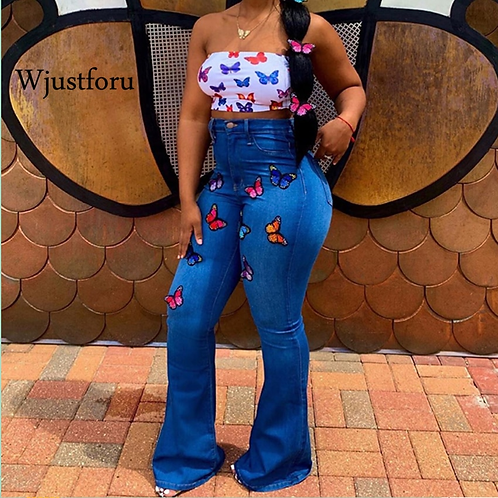 Wjustforu Embroidery Skinny Flare Jeans for Women Bell Butterfly Tight Denim Pan