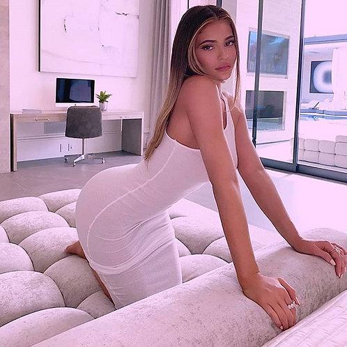 XLLAIS on Sale Cotton Fitness Long Dresses Women Sexy Summer Beach Tight Bodycon