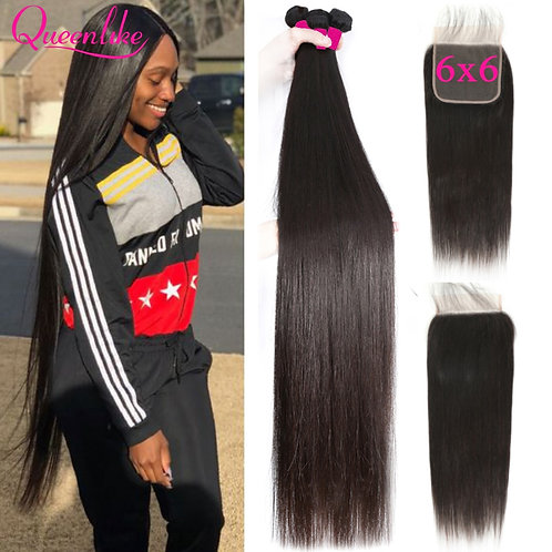 Queenlike 6*6 Lace Closure and Human Hair Bundles With 6x6 Closure Brazilian