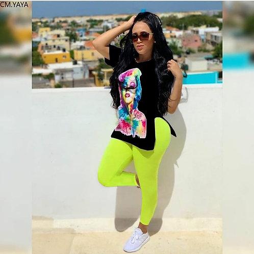 CM.YAYA Women's Set Monroe Character Slit Side Tee Tops Leggings Pants Suit Acti