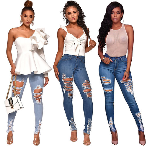 Echoine Denim Ripped Jeans Woman Jeans Mujer Womens Jeans Stretch Femme Jeans
