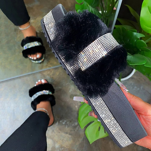 Litthing Women Fur Slippers Furry Slides Summer Bling Slide Sandals Plush