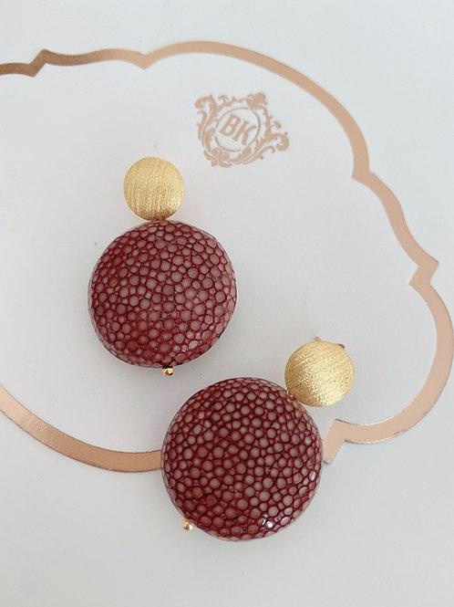 Ohrringe aus Rochenleder, zimt