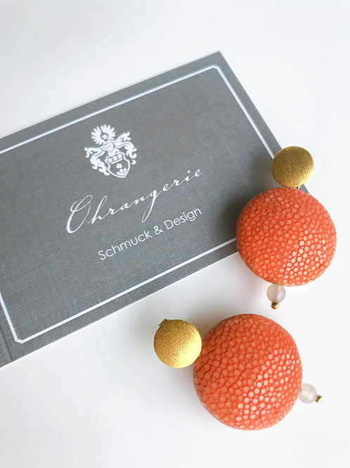 Ohrringe aus Rochenleder, orange
