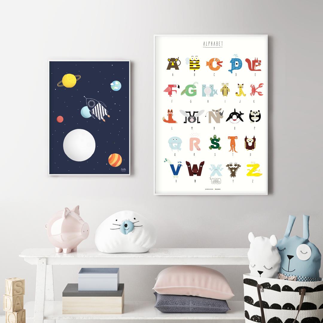 """Poster """"Weltraumrakete"""" & """"Tieralphabet"""""""