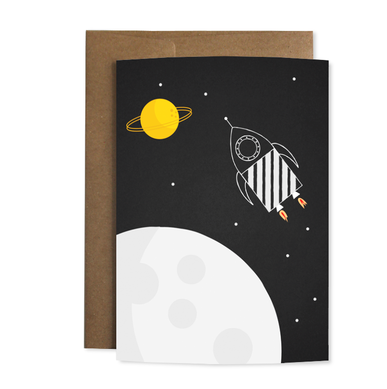 """Grußkarte """"Weltraumrakete"""""""
