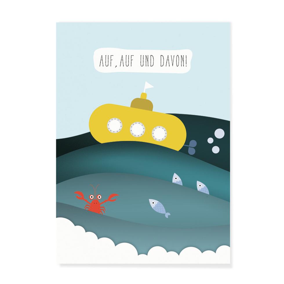 """Postkarte """"Auf, Auf und Davon"""""""