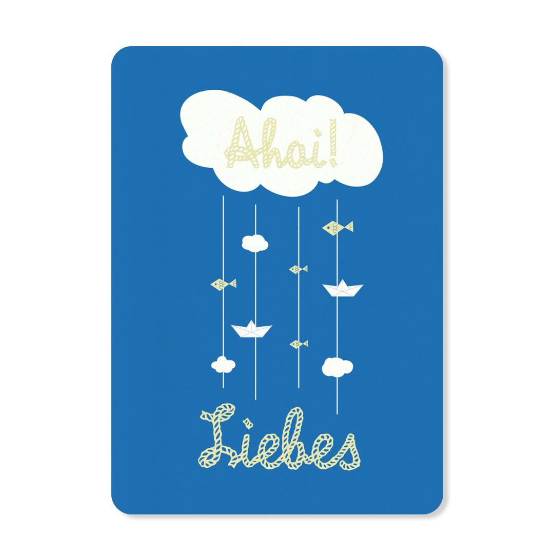 """Postkarte """"Ahoi Liebes Blau"""""""