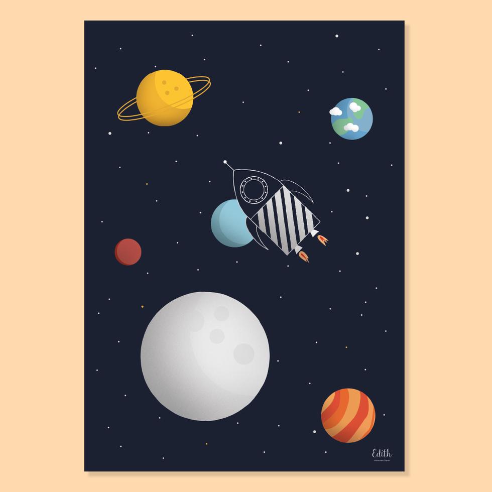 "Poster ""Weltraumrakete"""