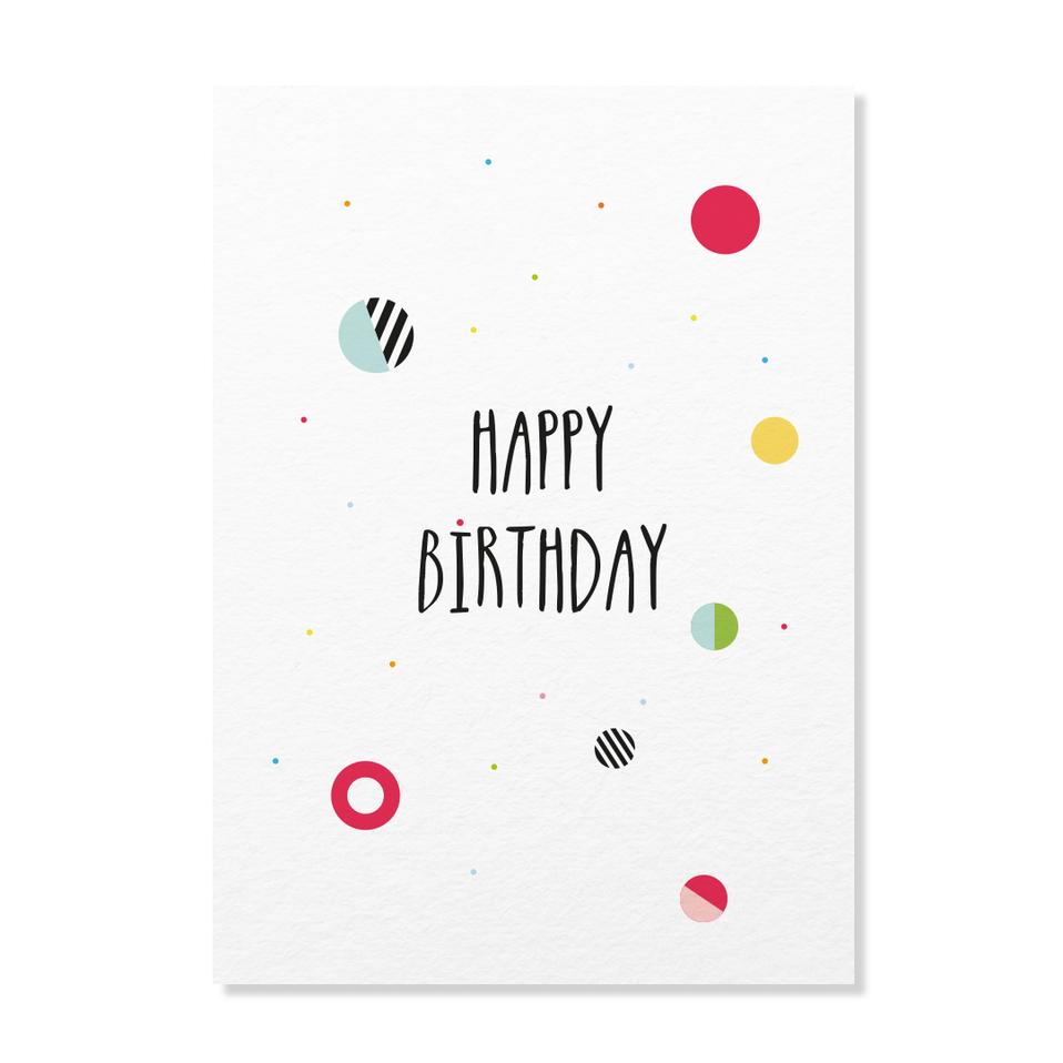 """Postkarte """"Happy Birthday Konfetti"""""""