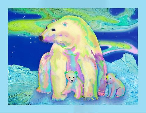 """Polar Bear Aurora"" Fabric Art Panel"
