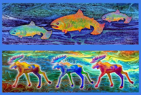 """""""Moose-Salmon Run"""" Fabric Art Panel"""