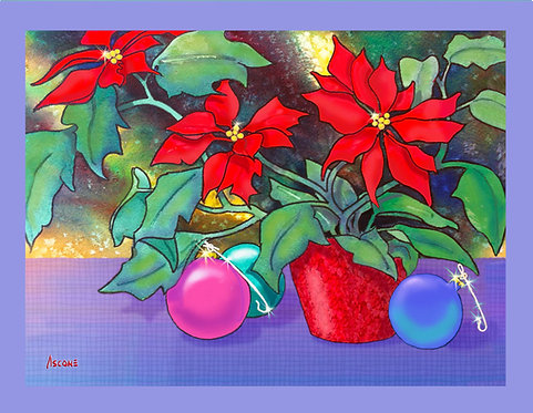 """Poinsettia Bouquet"" Fabric Art Panel"