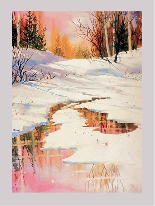 """Winter Rose"" Fabric Art Panel"