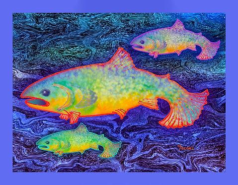 """The Salmon King"" Fabric Art Panel"