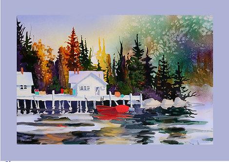"""Alaska Dock"" Fabric Art Panel"