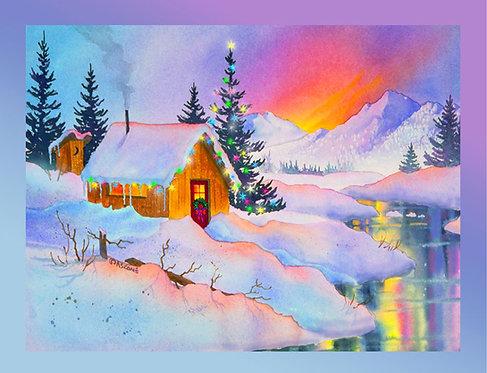 """Cabin Lights"" Fabric Art Panel"