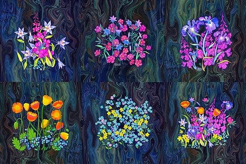 """""""Alaska Wildflowers"""" Mug Rug Set"""