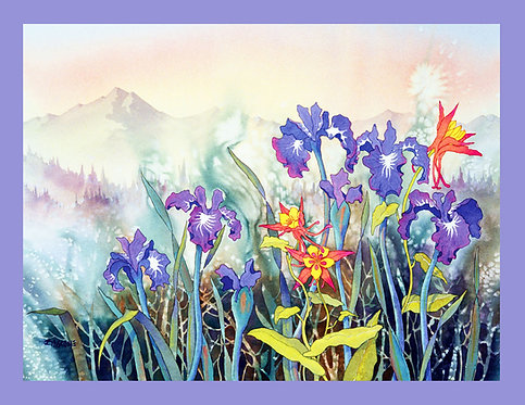 """Iris & Columbine"" Fabric Art Panel"